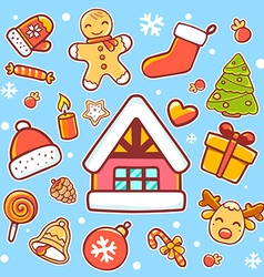 Red green and yellow christmas items on vector