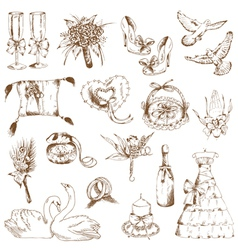 Set of Beautiful Wedding Hand Drawn Elements vector image vector image