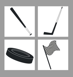 set sport equipment black and white vector image