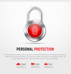 square white banner with a hinged metal lock and vector image