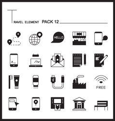 Travel element line icon set 12city and urban thin vector