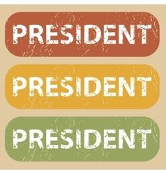 Vintage president stamp set vector
