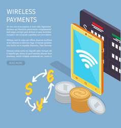 Wireless payments internet info page vector