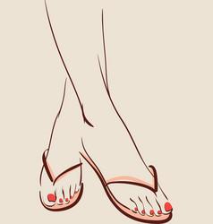 Woman wearing summer shoes flip flops eps 10 vector