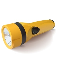 Yellow flashlight on a white background vector
