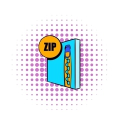 ZIP file icon in comics style vector image