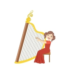 Girl in red dress playing harp vector