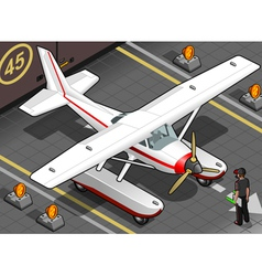 Isometric Landed Seaplane Out of Hangar vector image