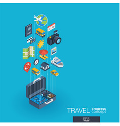 Travel integrated 3d web icons growth and vector