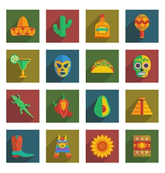 mexican themed icons vector image
