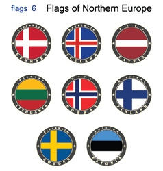 Flags of north europe vector