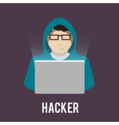 Hacker icons flat vector
