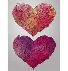 Hand drawn curled heart set vector