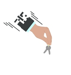 Businessman hand holding and giving keys vector