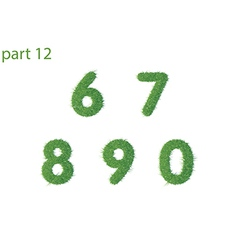 Numbers text of green grass part two vector