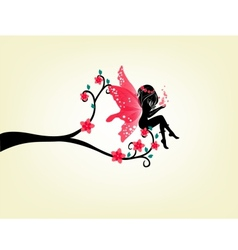 Silhouette of a fairy and tree vector