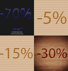 5 15 30 icon set of percent discount on abstract vector