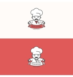 Italian chef head mascot logotype pizzeria vector