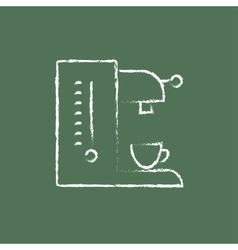 Coffee maker icon drawn in chalk vector