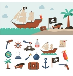 Pirate icons set vector image