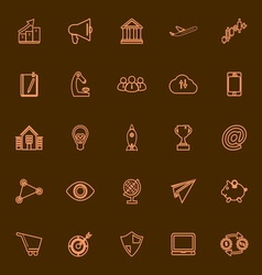 Startup business orange line icons vector