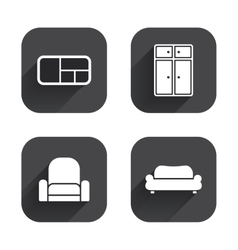 Furniture icons sofa cupboard and book shelf vector