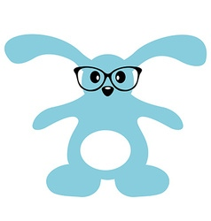 Cute bunny with glasses isolated vector