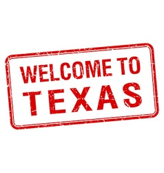 Welcome to texas red grunge square stamp vector