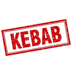 Kebab red square grunge stamp on white vector