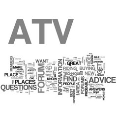 Atv forums text word cloud concept vector