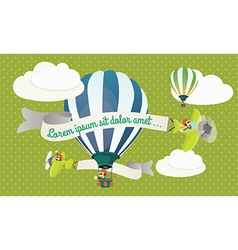 Balloons and airplain in the clouds vector