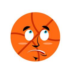 Basketball surprised emoji ball astonished vector