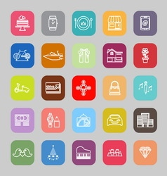 Birthday gift line flat icons vector