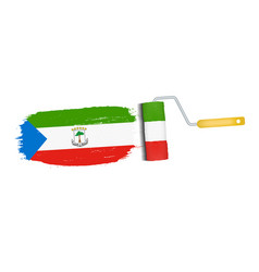 brush stroke with equatorial guinea national flag vector image