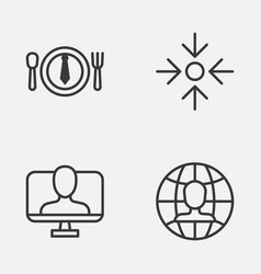 business icons set collection of global work vector image