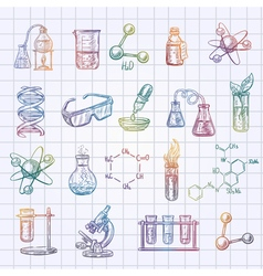 Chemistry sketch icons set vector