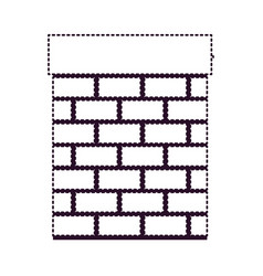 chimney in brick material on dotted monochrome vector image vector image