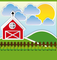 Color landscape of farm and cute field vector