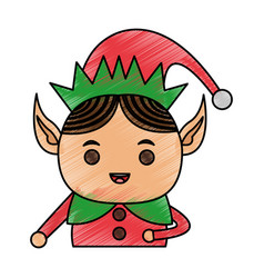 color pencil cartoon half body christmas elf vector image vector image