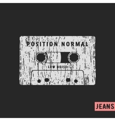 Compact cassette vintage stamp vector image vector image