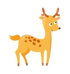Cute deer cartoon running wild character vector