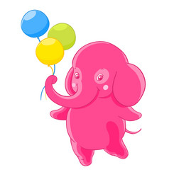 funny pink elephant gives the three balloons vector image