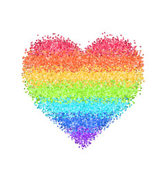 Glitter rainbow heart vector
