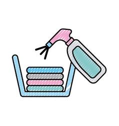 laundry garments with splash bottle vector image