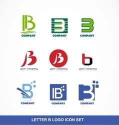 Letter b icon logo set vector