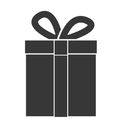 Monochrome silhouette with giftbox closeup vector