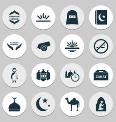 Ramadan icons set includes icons such as hajj vector