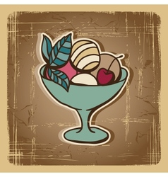 Retro ice cream background vector image