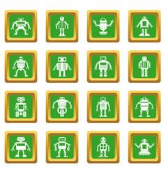 Robot icons set green vector