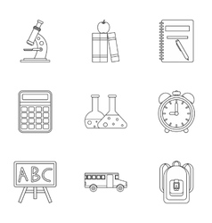 Schoolhouse icons set outline style vector image vector image